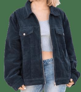 Blue Katie Corduroy Jacket-Brandy Melville