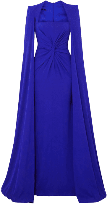 Blue Kennedy Cape-Effect Twist-Front Crepe Gown-Alex Perry