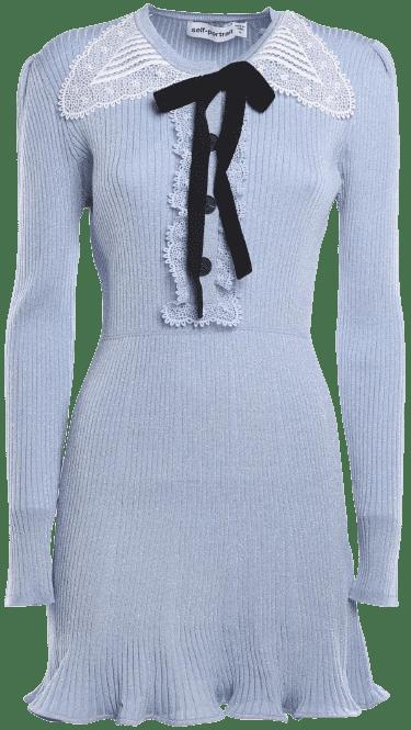 Blue Lurex Knit Mini Dress-Self-Portrait