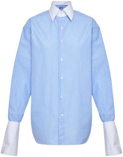Blue Pinstripe Signature Button-Up-WOERA