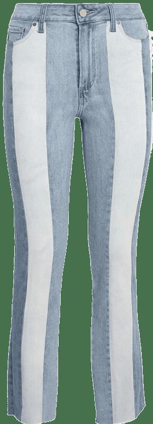 Blue Sky Piercing Cindy Patchwork Raw-Hem Jeans