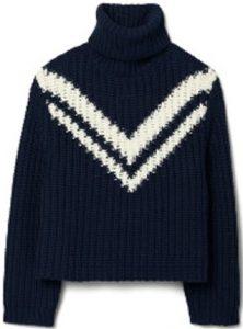 Blue Sport Chevron Merino Sweater-Tory Burch