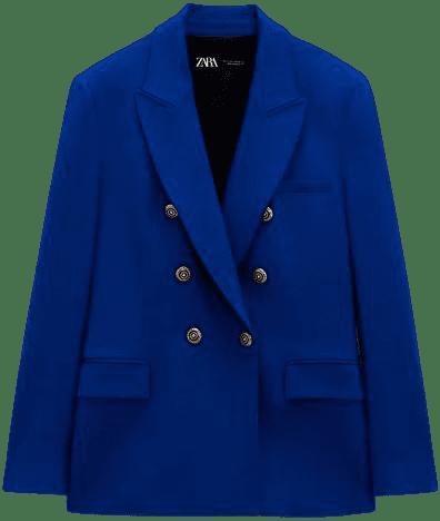 Blue Tailored Double Breasted Blazer-Zara