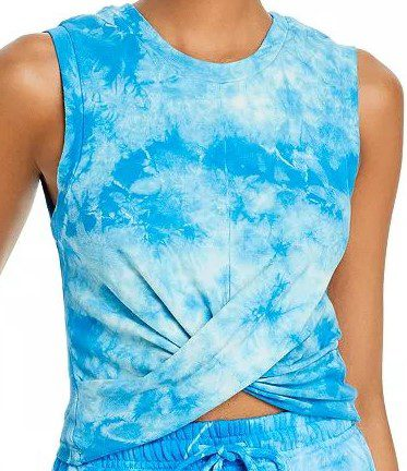 Blue Tie Dye Anne Marie Twisted Tank Top-Year of Ours