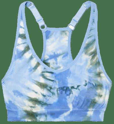 Blue Tie-Dye Seamless Racerback Bra