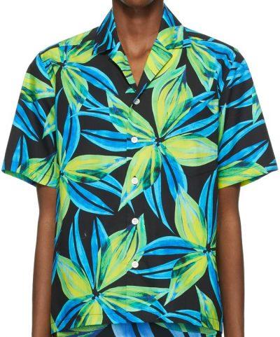 Blue & Yellow Leaf Shirt-Louisa Ballou