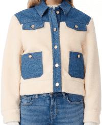 Bluewhite Bamia Denim Trim Faux Fur Jacket