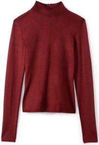 Bordeaux Viscose Milano Knit Turtleneck Sweater-St. John