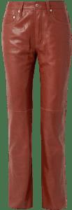 Brick Leather Straight-Leg Pants