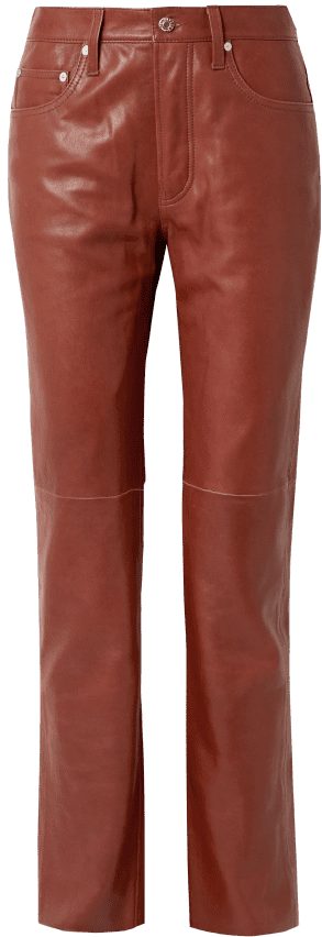 Brick Leather Straight-Leg Pants