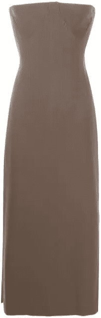 Brown Corseted Strapless Dress