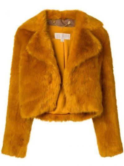 Brown Cropped Faux Fur Jacket