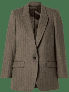Brown Diane Herringbone Wool-Blent Twill Blazer