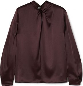 Brown Knotted Silk-Satin Blouse-Vince