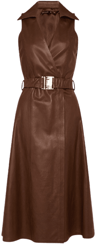 Brown Leather Wrap Belted Dress-Karen Millen