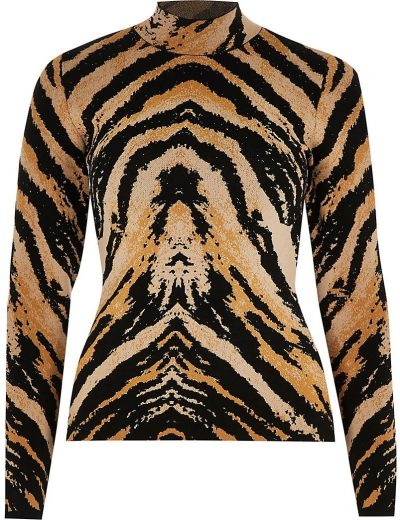 Brown Long Sleeve Tiger Print Fitted Top-River Island