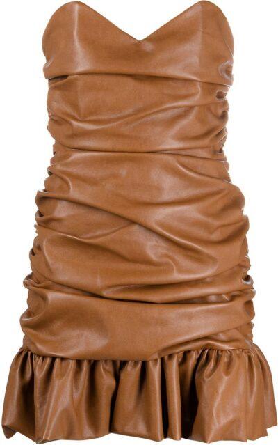 Brown Ruched Faux-Leather Mini Dress-Giuseppe Di Morabito
