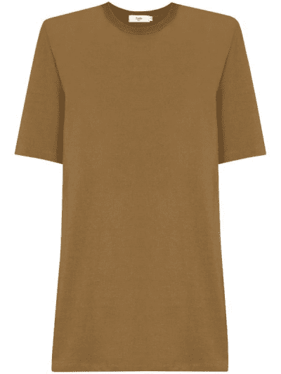 Brown Sean Padded Shoulder T-shirt Dress