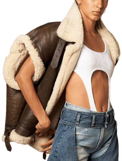 Brown Shearling Aviator Gilet-TRE By Natalie Ratabesi