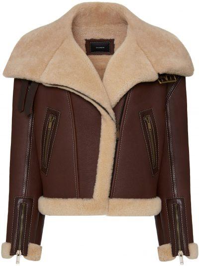 Brown Sheepskin Jacket With Contrasting Trim-YULIAWAVE