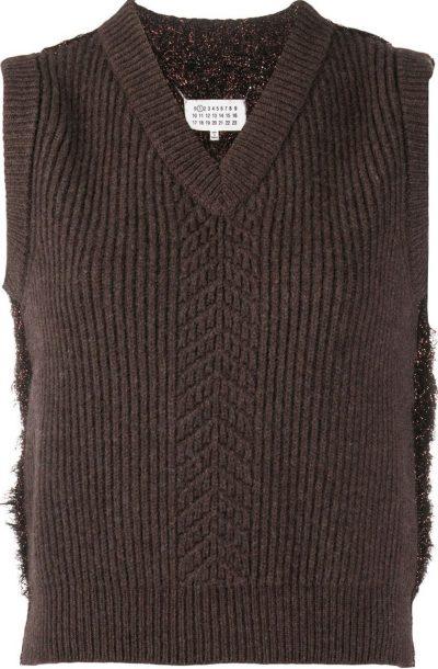 Brown Wool Mix Sweater Vest-Maison Margiela