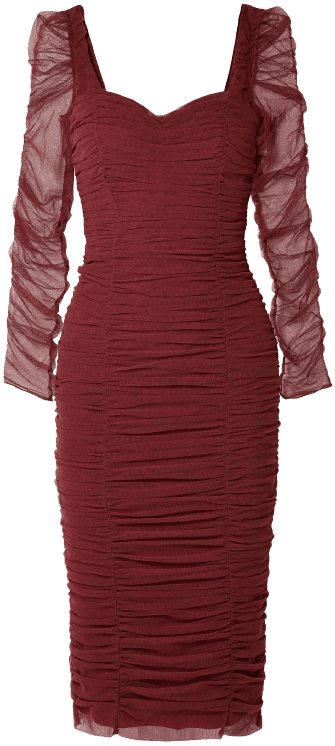 Burgundy Ruched Stretch-Tulle Dress-Dolce & Gabbana