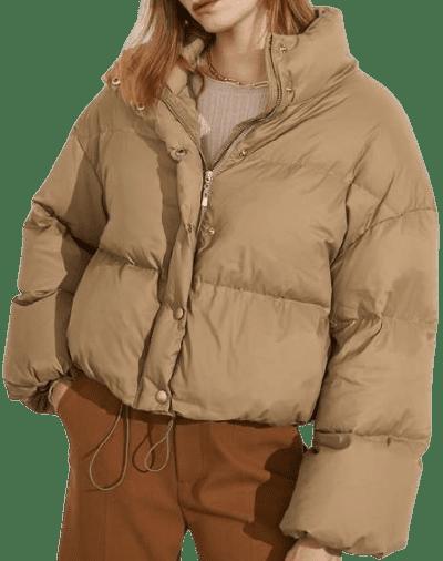 BurlyWood Cropped Tan Puffer Jacket-J.ING