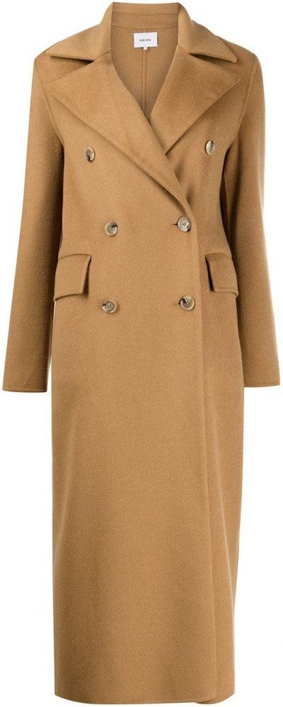 Camel Brown Lana Double-Breasted Coat-Nanushka