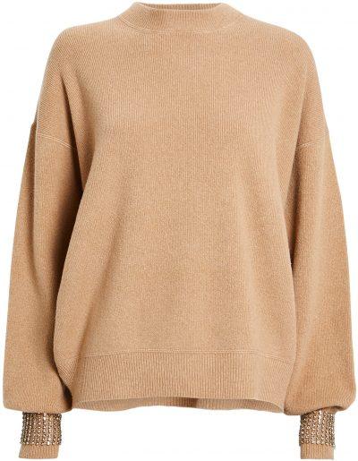 Camel Crystal Cuff Crewneck Sweater-Alexander Wang