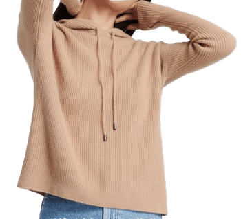Camel Luxe Cashmere Ribbed Hoodie