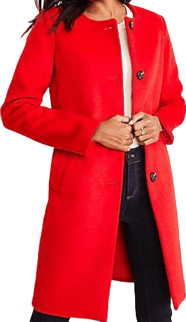 Candy Red Jewel Neck Coat