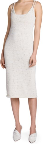 Chalk Knit Spaghetti-Strap Dress-Bottega Veneta