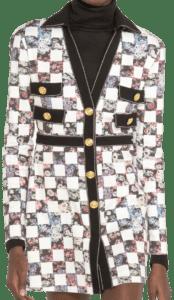 Checkered Cotton Gabardine Mini Dress-Giambattista Valli