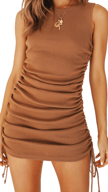 Chocolate Beauty Game Drawstring Mini Dress-Verge Girl