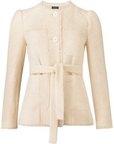 Cream Belted Fringe Boucle Jacket-ME + EM