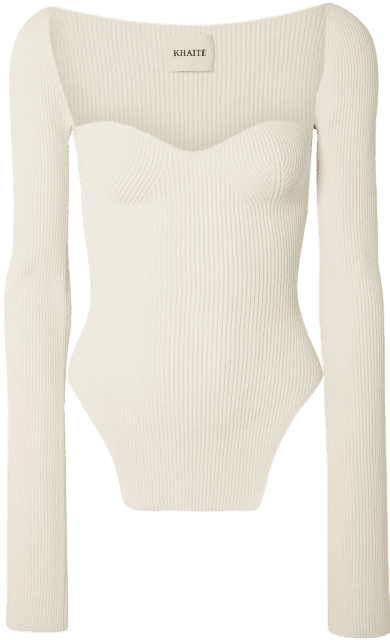 Cream Maddy Ribbed-Knit Sweater