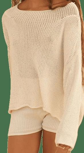 Cream Organic Knit Sweater-Savannah Morrow