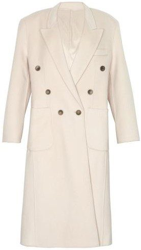 Cream Padded Shoulder Double Breasted Overcoat-The Frankie Shop