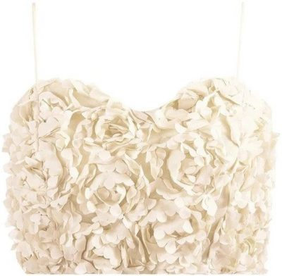 Cream Petal Cami Crop Top-The Naked Laundry