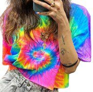 Crop T-Shirt Tie Dye Fluo-No Perfect Clothing