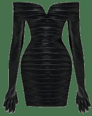 Custom Black Gathered Minidress Wtih Gloves