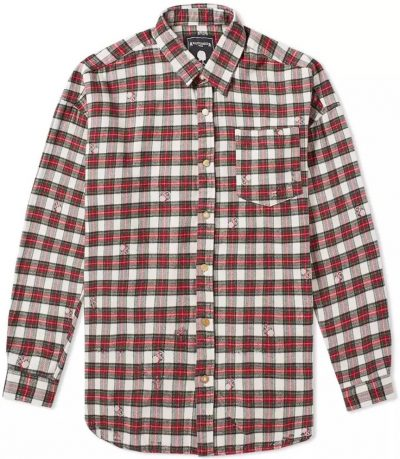 Damaged Skull Check Flannel Shirt-Mastermind World