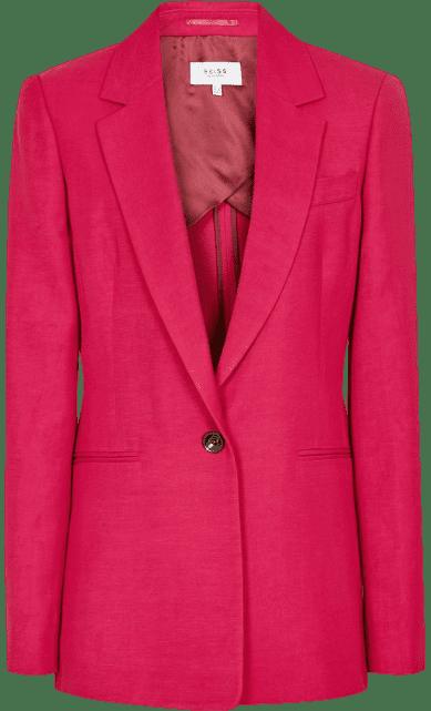Dark Pink Linen Blend Blazer