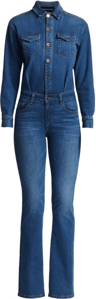 Denim Long-Sleeve Jumpsuit