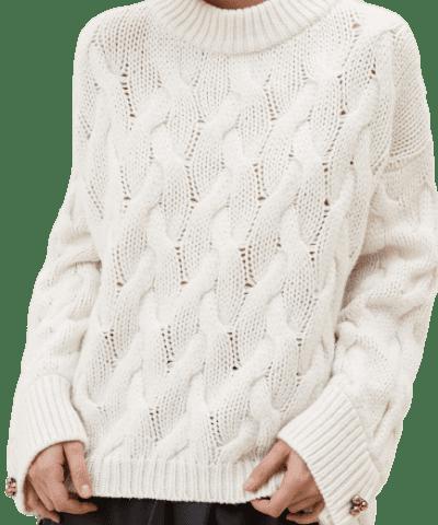 Ecru High Neck Sweater