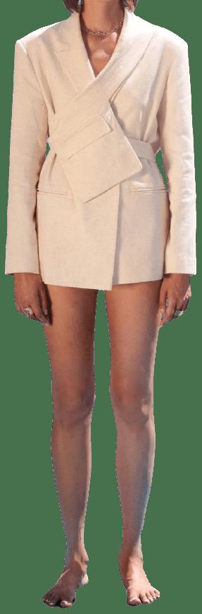 Ecru Jacket With Belt-Eppram