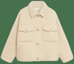 Ecru Knitted Oversize Jacket-Mango