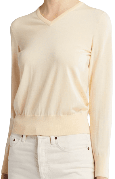 Eggshell Adisa Merino Wool-Cashmere V-Neck Sweater-The Row