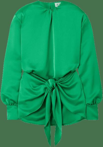 Emerald Tie-Detailed Satin Mini Dress-The Attico