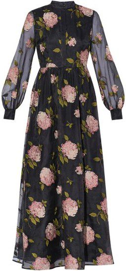 Floral Maya Embroidered Silk Midi Dress-Erdem
